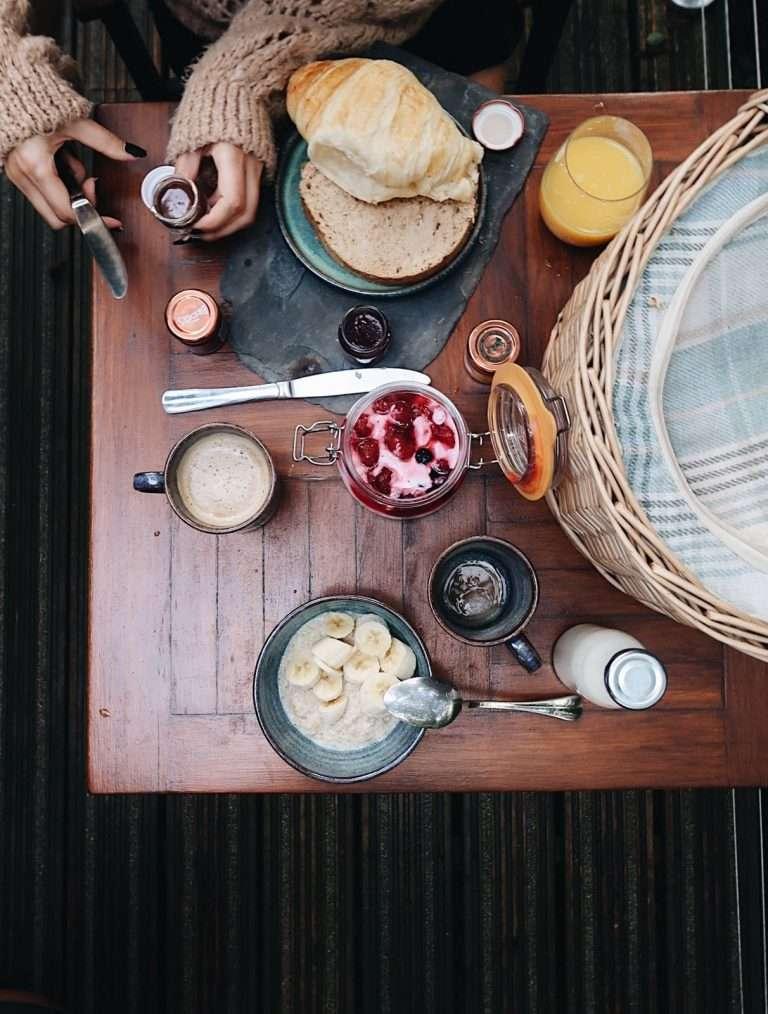 Handmade breakfast is served a