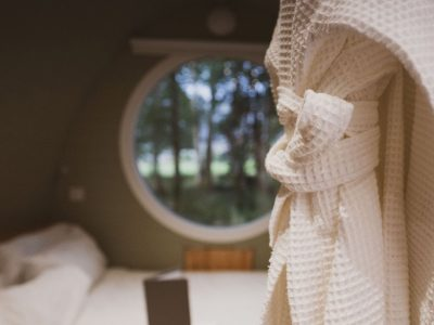 Bathrobes at RiverBeds Luxury Wee Lodges with Hot Tubs Woodlands Glencoe, Scotland.