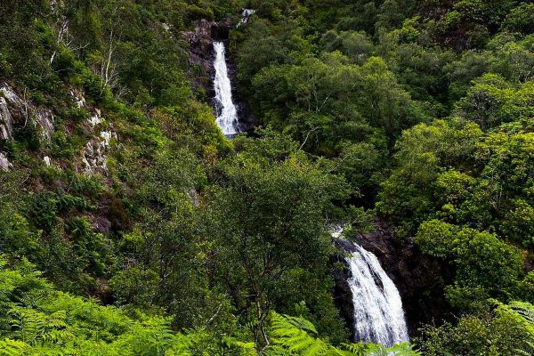 Inchree waterfalls near Woodlands Glencoe, Highlands of Scotland