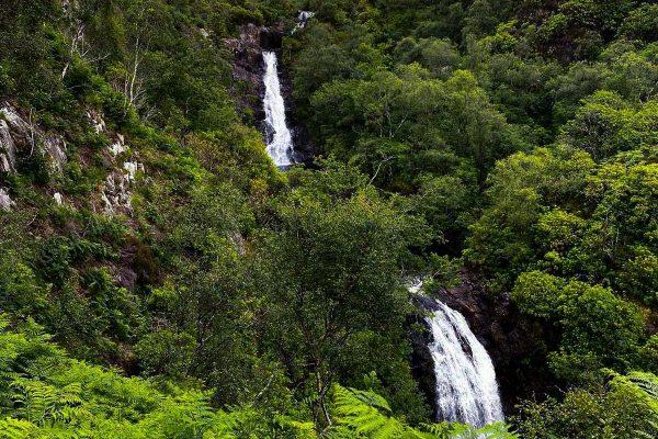 Inchree waterfalls near Woodlands Glencoe, Highlands of Scotland