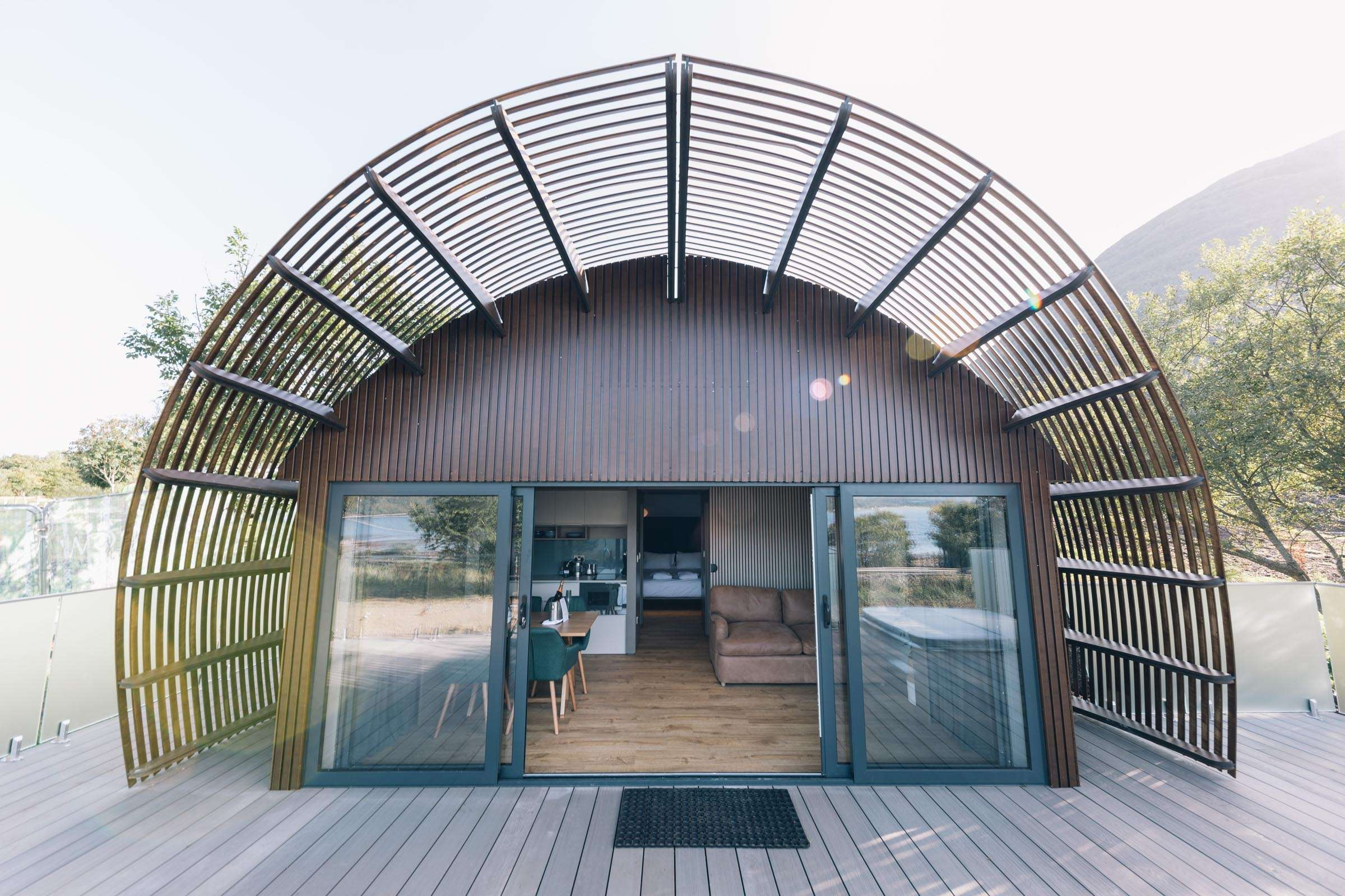 Exterior of SeaBed Luxury Lookout Lodges with hot tubs at Woodlands Glencoe, Scotland
