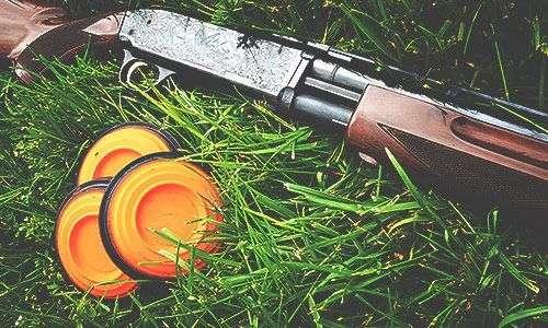 Laser shotgun and clays from laserclay shooting, an activity at Woodlands activity centre Glencoe, Scotland