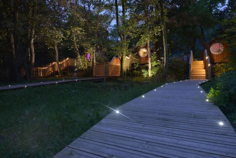 Nightime at RiverBeds luxury wee lodge with hot tub in Glencoe, Scotland
